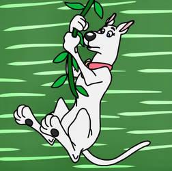 Scooby Dee swings on a jungle vine
