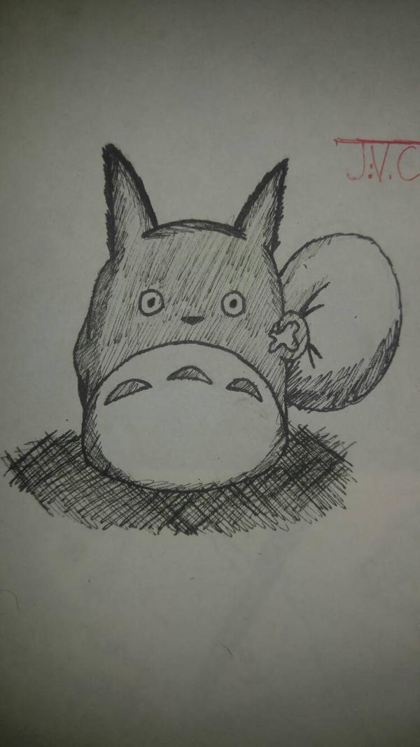 Day 8 of Inktober (Blue Totoro) by MosakeJarakio