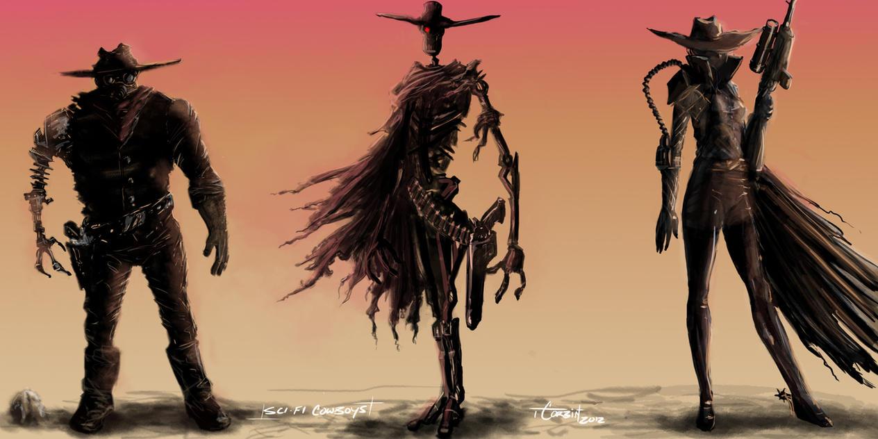 Sci-fi Cowboy Concept Sketches by trevorcorbin