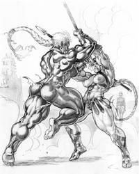 Commission Red vs Onyx by Jebriodo
