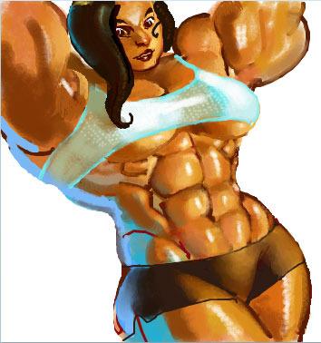 милости просим рисованная мускулистая женщина полупрофессиональное