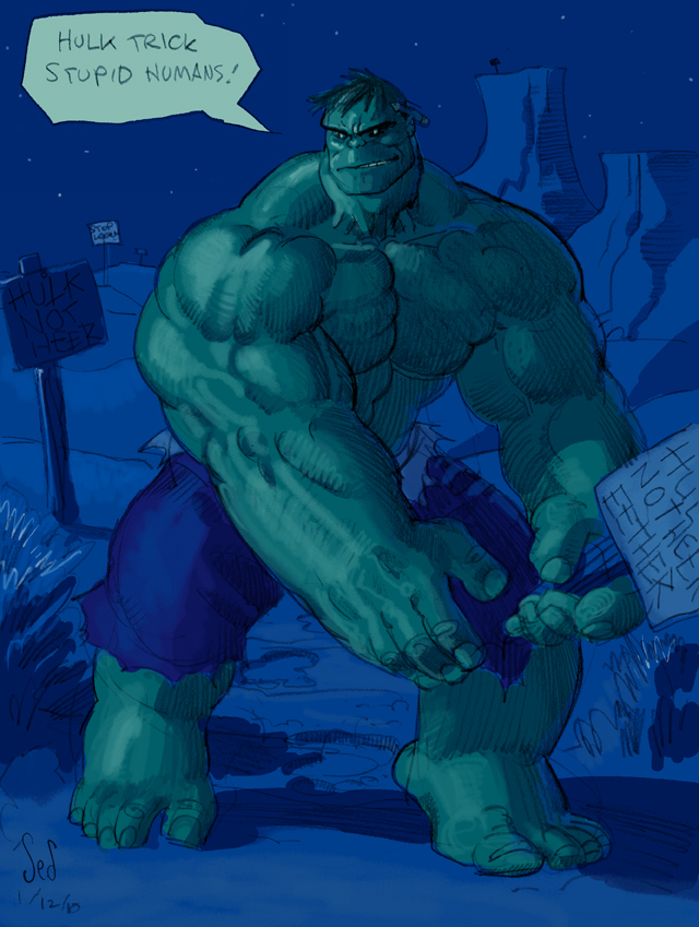 Hulk Trick Stupid Humans by Jebriodo