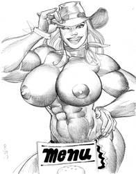Cowgirl Waitress sketch by Jebriodo