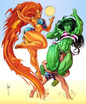 Starfire and She-hulk play volleyball by Jebriodo