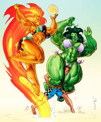 Starfire She-hulk color sketch commission by Jebriodo