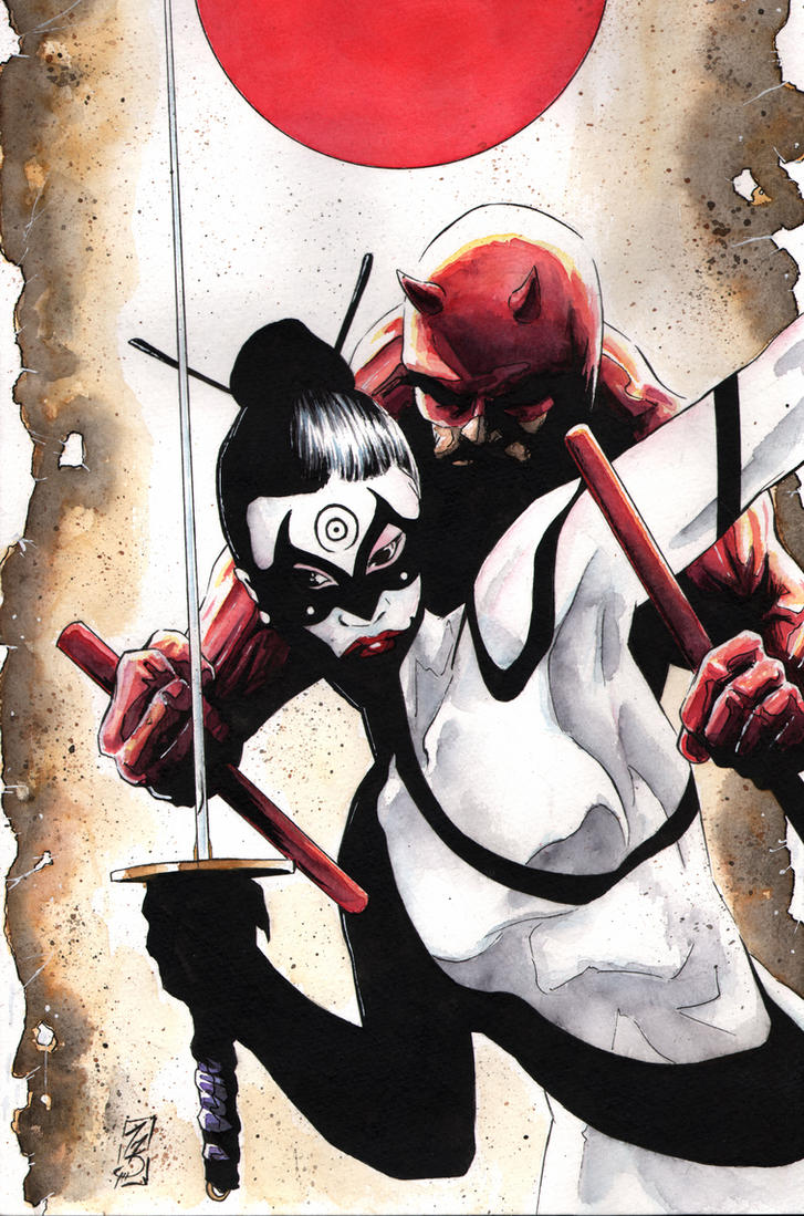 Daredevil and Lady Bullseye by SpaciousInterior