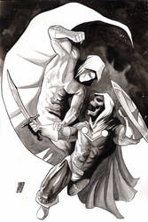 Moonknight vs Taskmaster inktober by SpaciousInterior