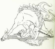 Flaming Unicorn of Death bNw by kelpiehunterkai