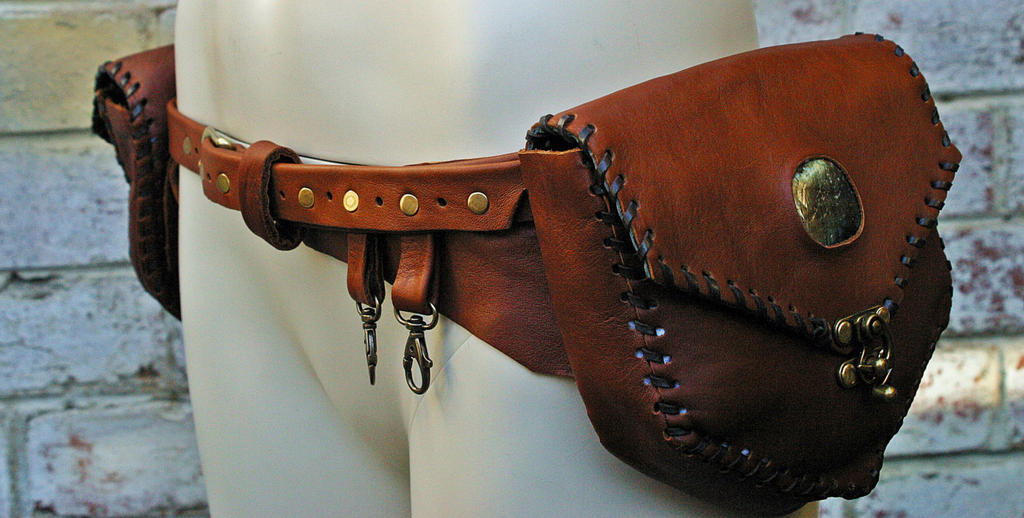 Handmade steampunk utility belt with labrado by dog and - Steampunk bett ...