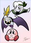 Kirby, Meta Knight, and Silica