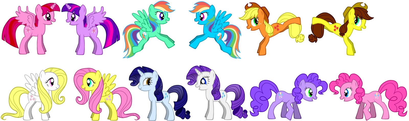 original mane 6 meets the parallel mane 6 by