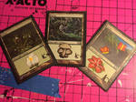 MtG Forest trio acrylic paintover alterations