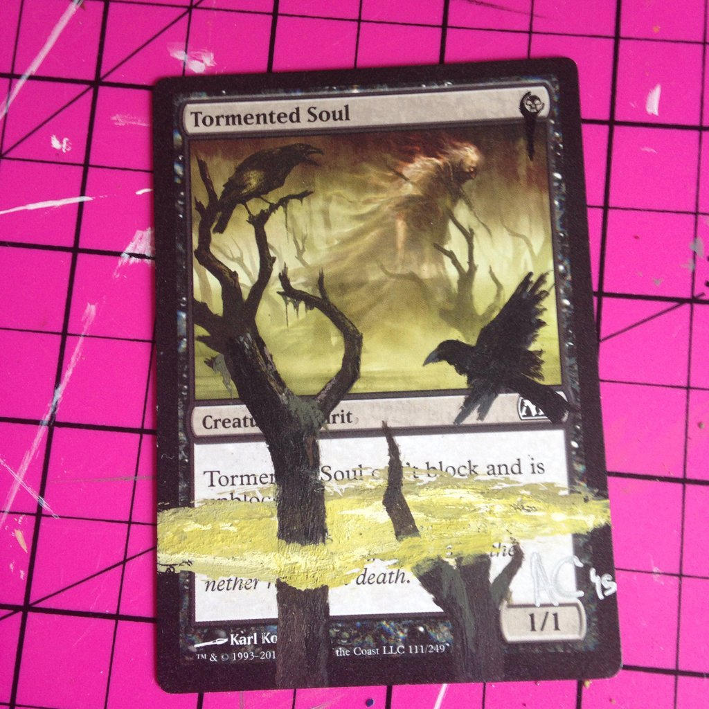 MtG Tormented Soul acrylic paint-over