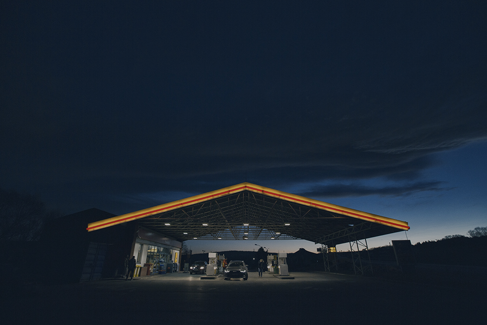 Filling Station on Christmas sunset by vtakac