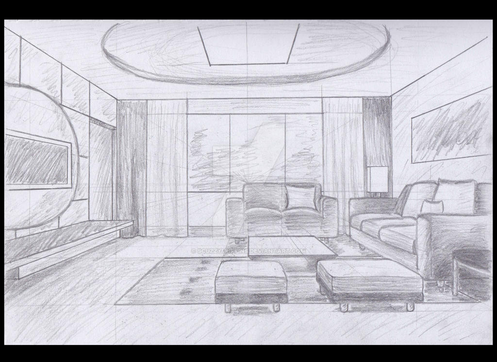 1 point perspective interior by scuzzymuffins on deviantart for Living room 2 point perspective