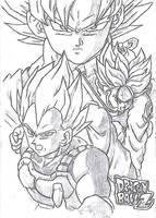 Goku, Vegeta and Trunks by lucascaua2000