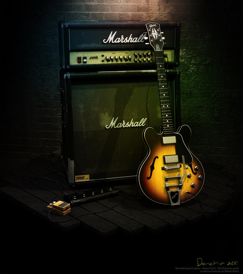 Gibson ES 335 And Marshall Amp By Doncha