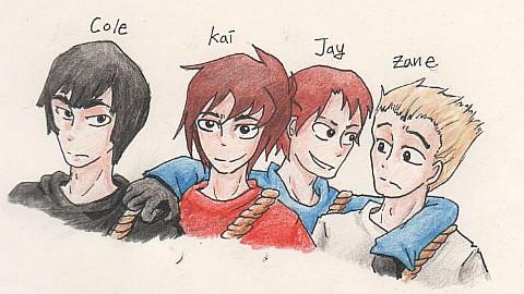 Ninjago- Cole, Kai, Jay, Zane