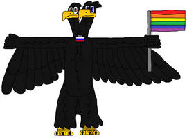 Russian eagle with LGBT flag