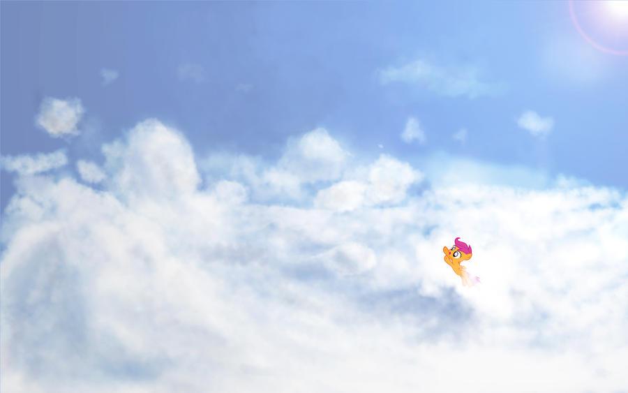 Clouds Wallpaper by SpontaneousPotato w. Scootaloo by xx1simon1xx
