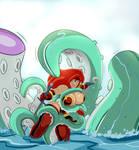 Red Monika VS Giant Octopus