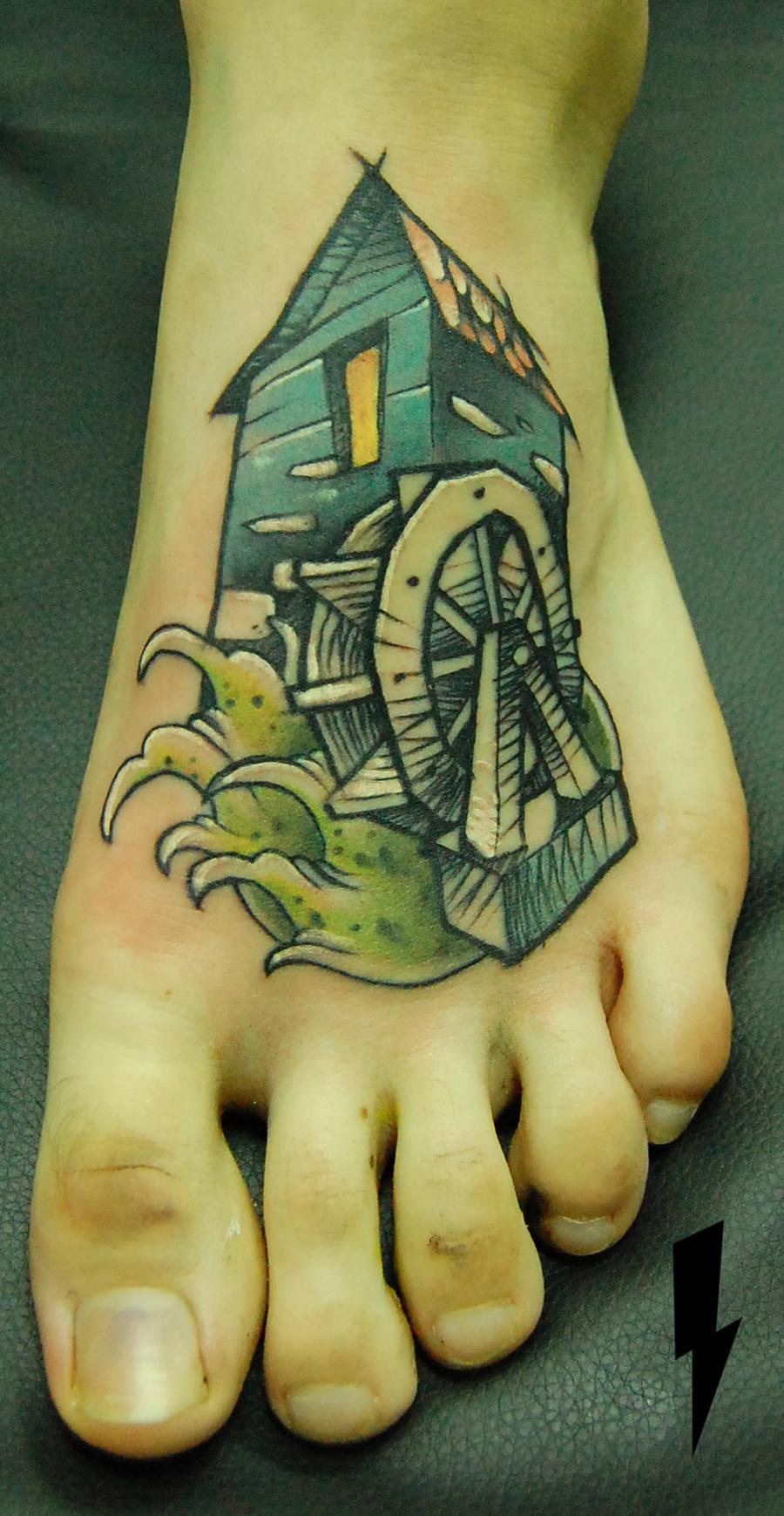 tattoo watermill by jukan6