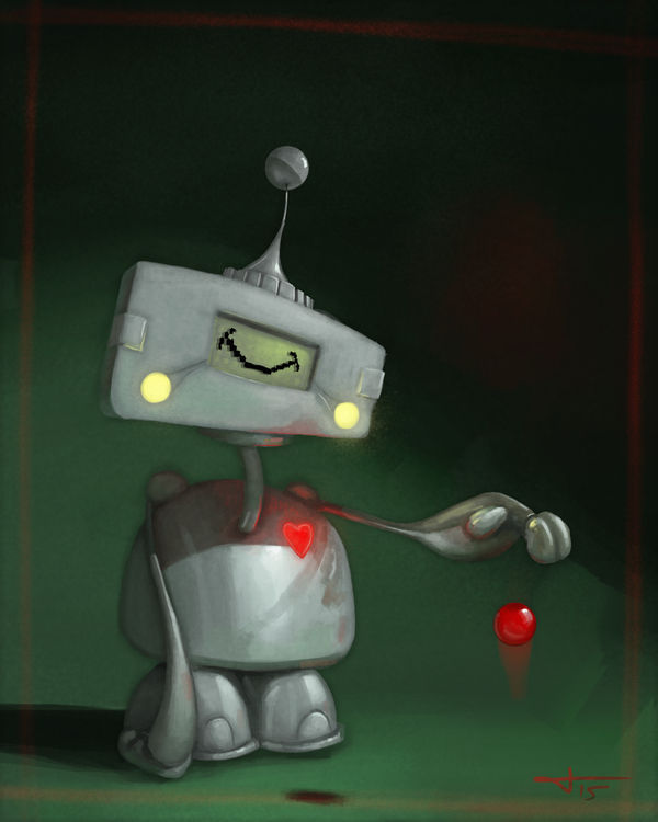 Red Robot Ball by HarlequiNQB