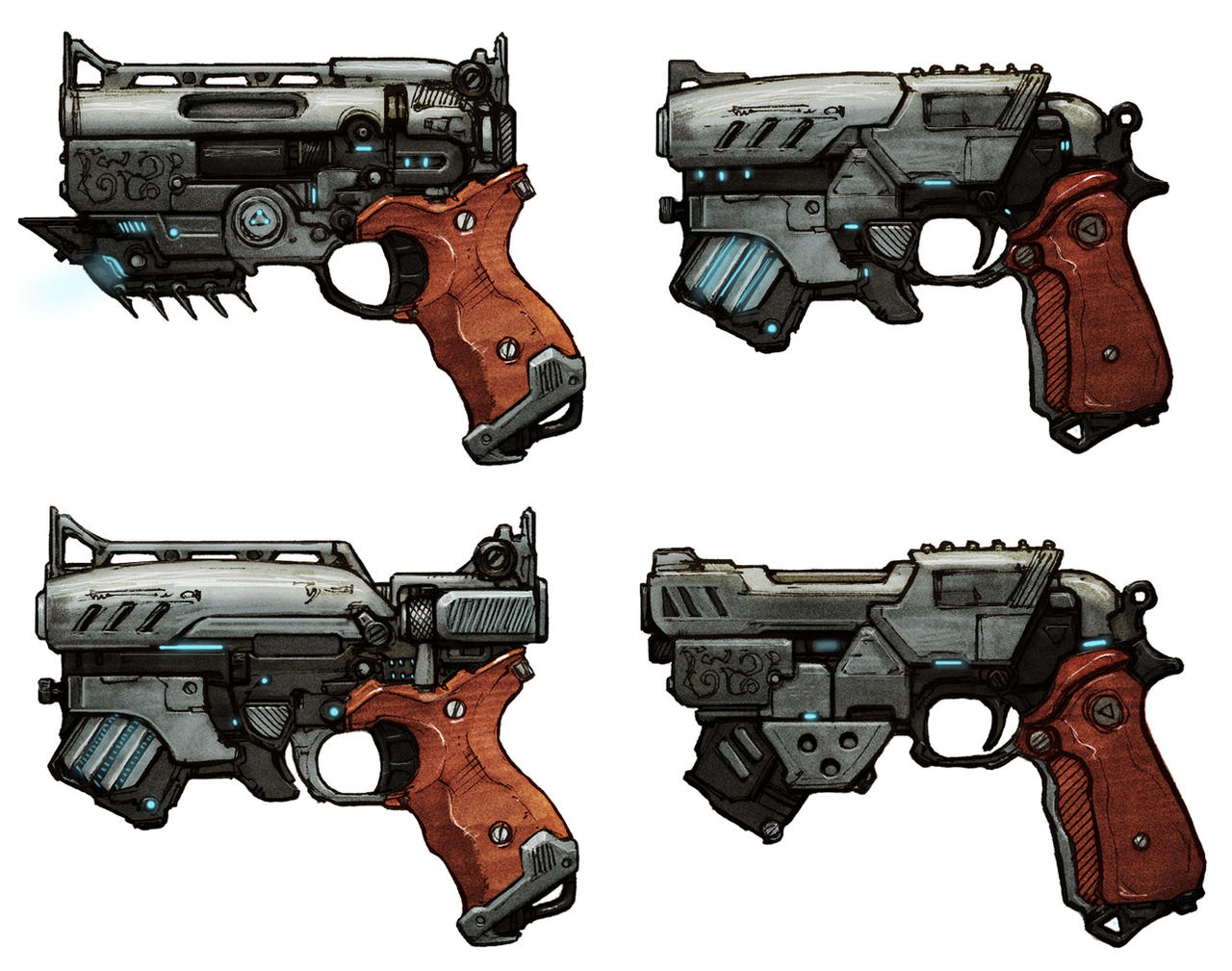 Handgun - sketches (Rachel) by chrislazzer