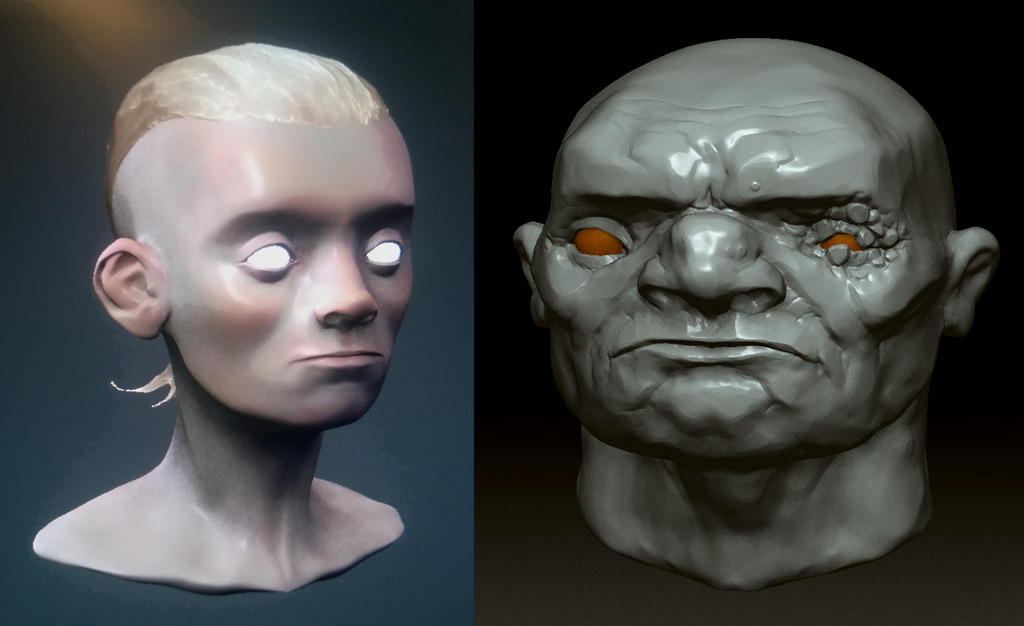 Gabog n Kid - head sculpts by chrislazzer