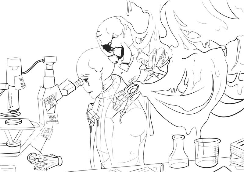 Gaster - the unavoidable - lineart by A-wing-and-a-flair