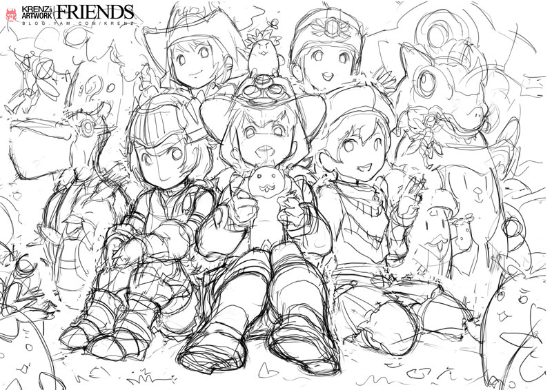 friends-sketch by Cushart