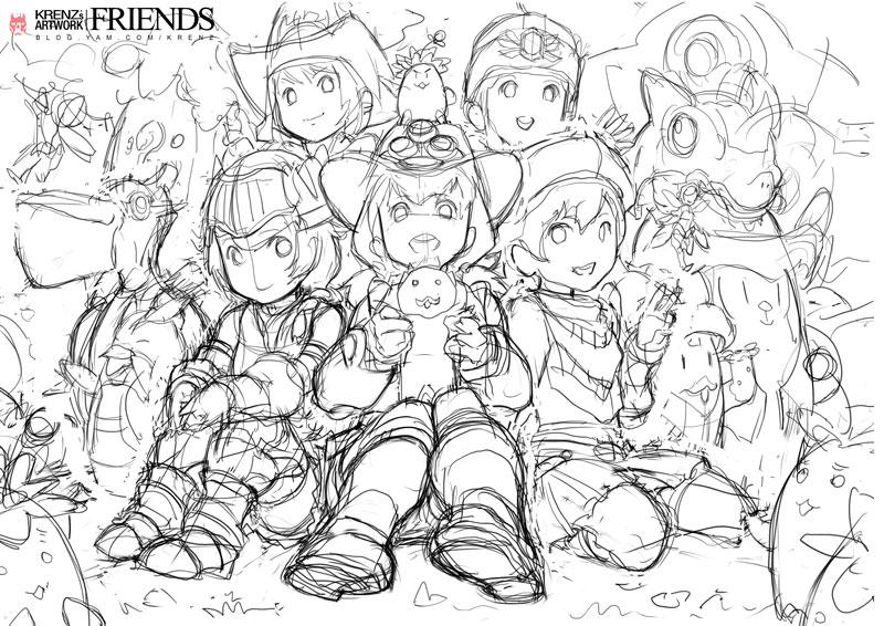 Friends Sketch By Cushart On Deviantart
