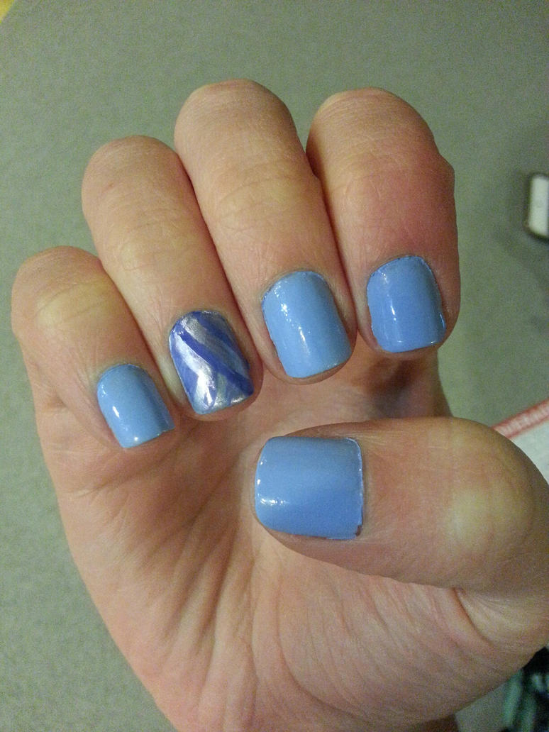 Baby Blue With A 90s Design Accent Nail Art By Rebecca Petro On