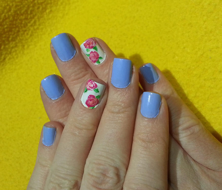 Baby Blue with Pink Flower Accent Nail Art by Rebecca-Petro on ...