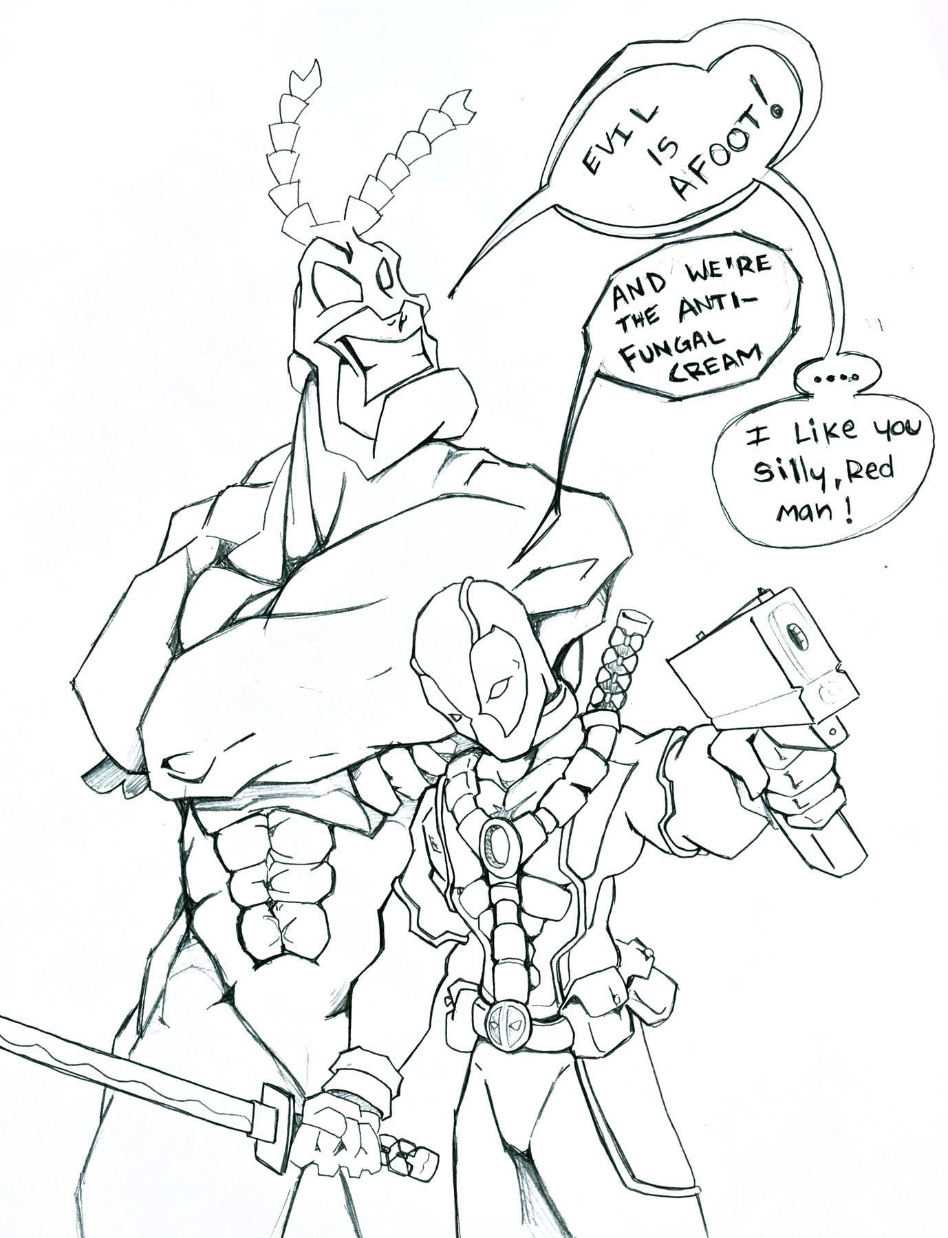 Deadpool and The Tick Team-up by NevermoreStudios
