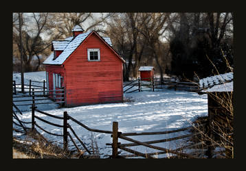 Red Barn in Winter by cuaz8993