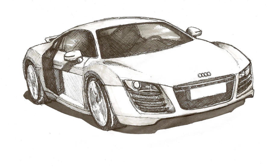 Audi R Pen Sketch By InkTheoryDesign On DeviantArt - Audi car drawing