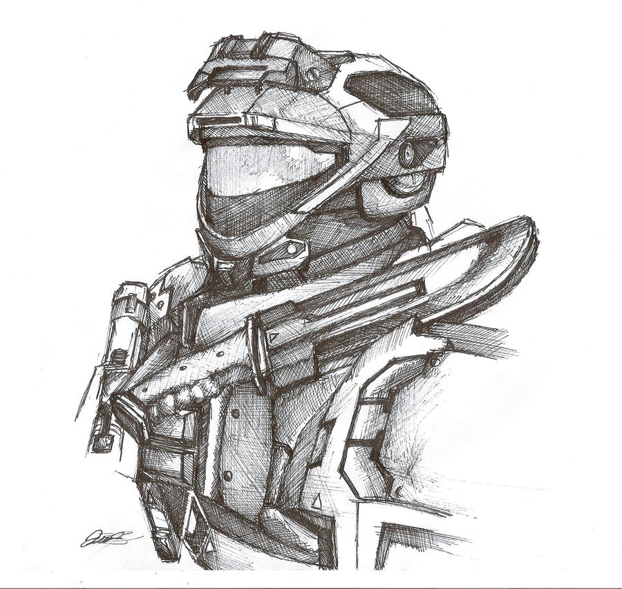 Halo reach spartan pen sketch by inktheory design on for Spartan 6 architecture