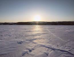 background - sunrise frozen lake baikal by 8moments