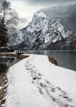 background - path, snow, lake and mountain