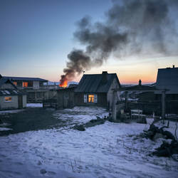 fire in the wooden-house village