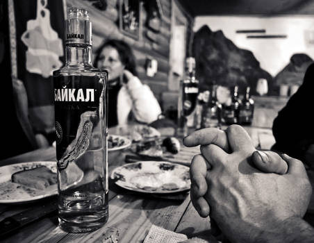 Russian revelry. Frozen fish, vodka, come together