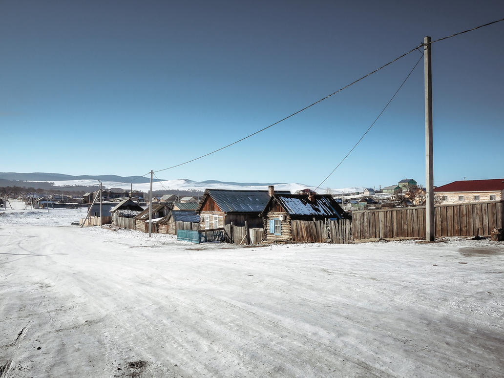 Strolling down the frozen road. Sunny cold. by 8moments