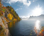 autumn lake path