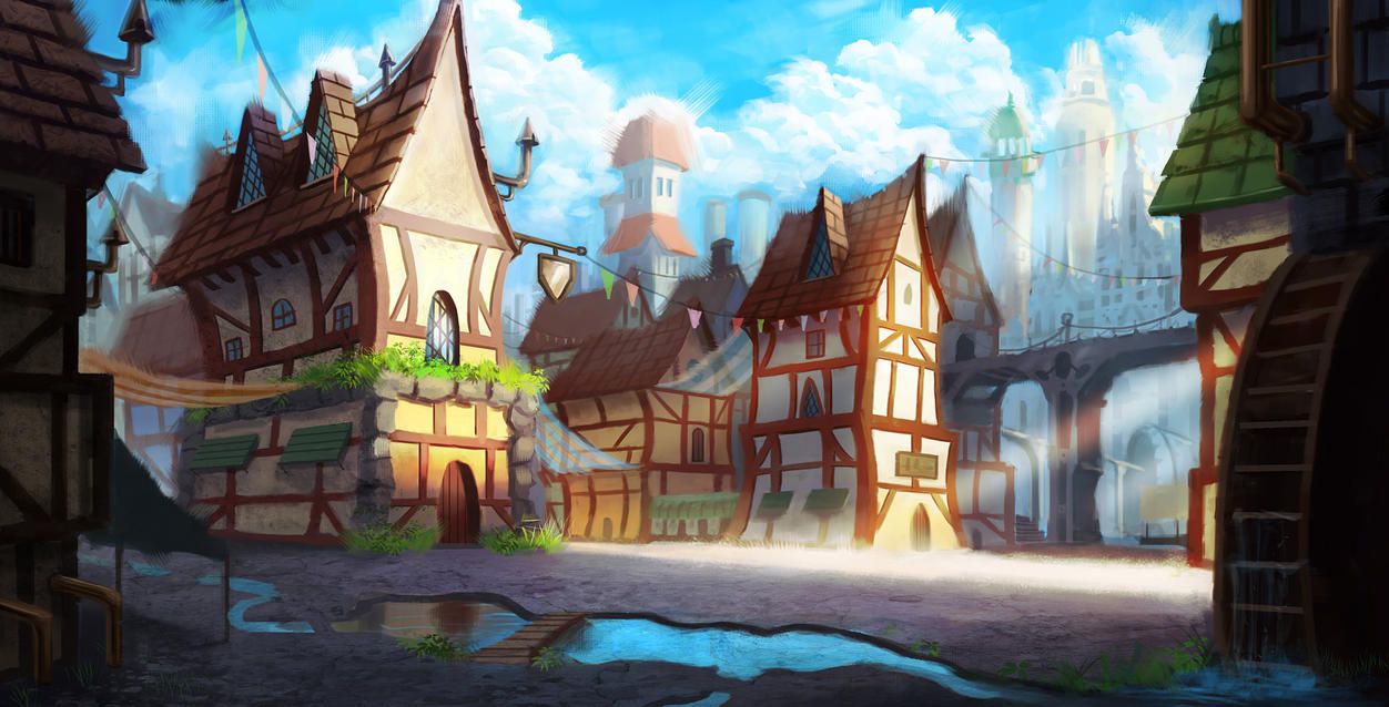 Village by tommyscottart
