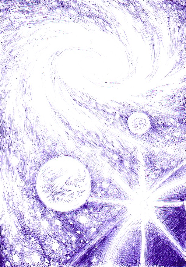 galaxy and planets sketch - photo #4