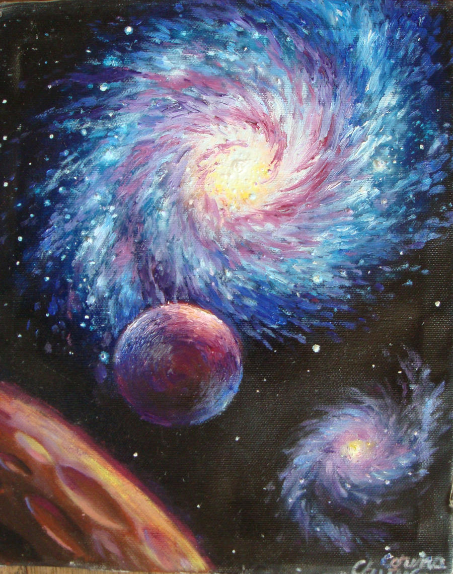 galaxy oil on canvas painting by corinazone on deviantart