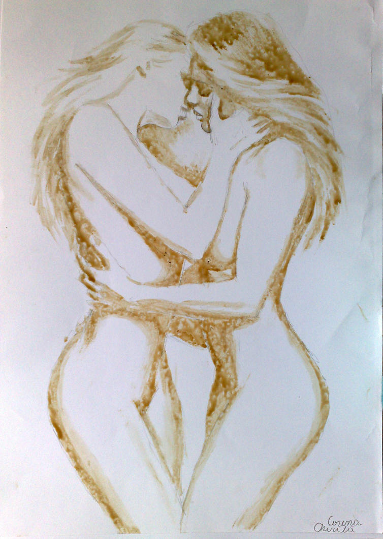 Lesbians Kissing coffee painting by CORinAZONe
