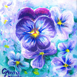 Viola sororia violet flowers by CORinAZONe