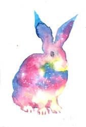 Colorful easter rabbit watercolor painting by CORinAZONe
